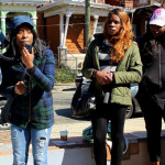 Black trans women speaking at direct action on March 5th, 2017 | Photo credit: Christian Lovehall
