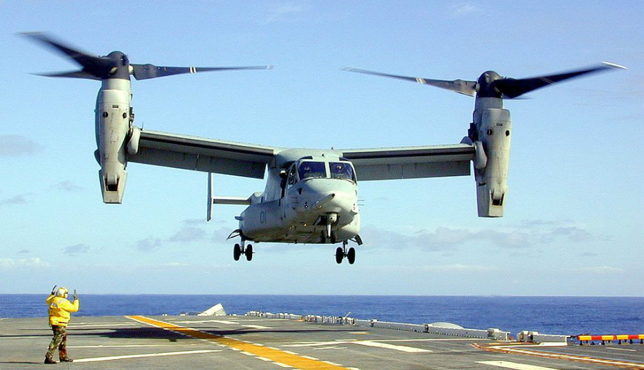 The Boeing V-22 Osprey, one of the Delco plant's products. Image via Wikimedia Commons.