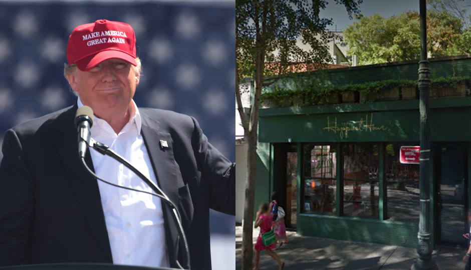 Left: Donald Trump shows off his Make America Great Again hat. (Wikimedia Commons) Right: The bar in question. (Google Maps)