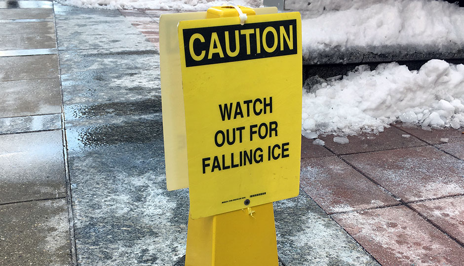 Watch Out for Falling Ice sign