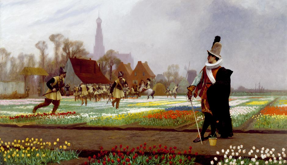"""""""The Tulip Folly"""" (1882), by Jean-Léon Gérôme, depicts a nobleman guarding a plot of blooms while soldiers trample other beds to cut down on the supply of bulbs. 
