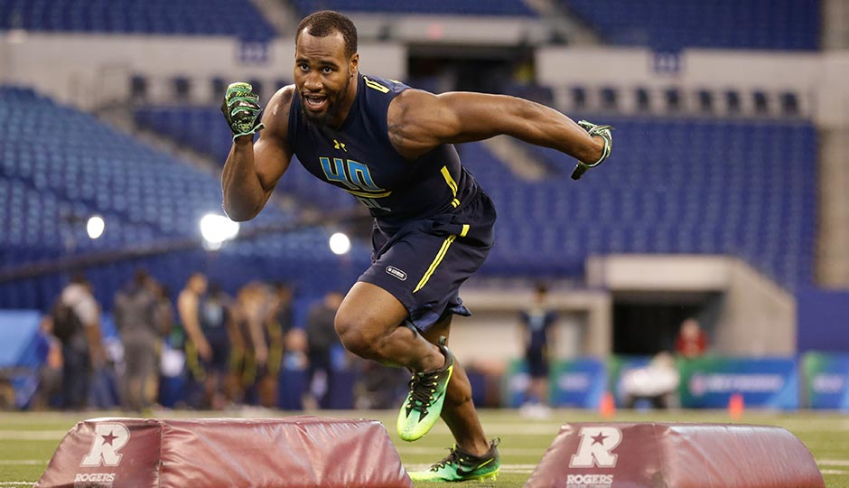 Haason Reddick at the NFL combine in Indianapolis on March 5th. Photo by Michael Conroy/AP
