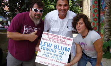 Philly tow guy Lew Blum (center) with artist Marc Brodzik (left) and Philly performer Darren Finizio (right).