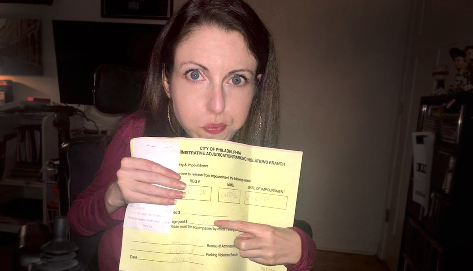 Shannon DeVido with the receipt showing her $175 payment to the PPA.
