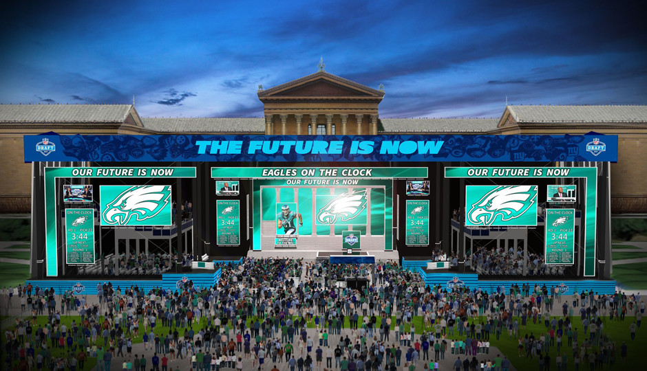 Rendering of the draft stage in front of the Philadelphia Museum of Art.