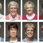 Top row, from left: Sister Marian Behrle, SSJ; Sister Judy Ridley, SSJ; Sister Peg Fleming, SSJ; Sister Kathy McShane, SSJ. Bottom row: Sister Pat Madden, SSJ; Sister Mary Scullion, Sisters of Mercy; Sister Connie Trainor, SSJ; Sister Carol Ann Knight, SHCJ. Portraits by Gene Smirnov