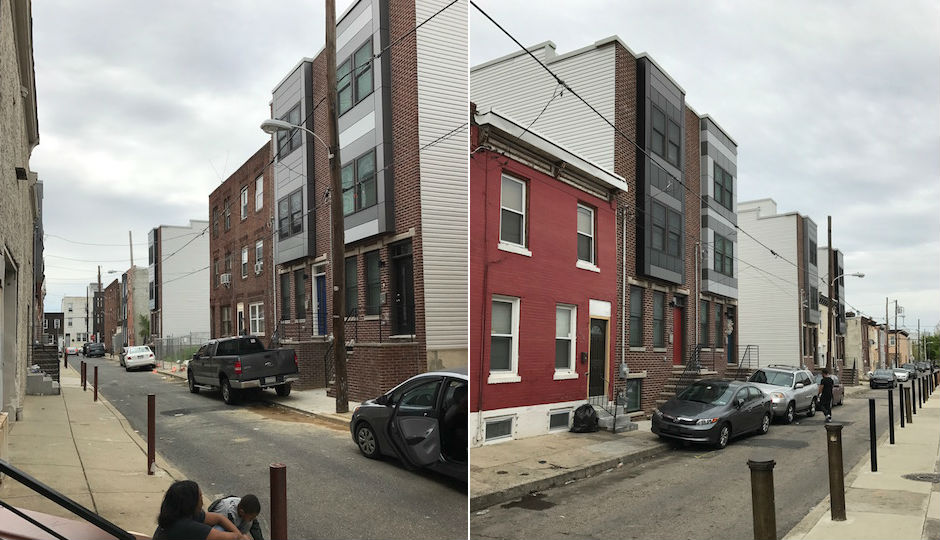 There's a touch of the Levitt approach in V2 Properties' strategy: standardize to keep costs low. It enables the company to offer more in its homes than others similarly priced. You should be able to spot the V2 homes on the 700 (left) and 600 (right) blocks of Mercy Street in Dickinson Narrows. | Photos: Sandy Smith