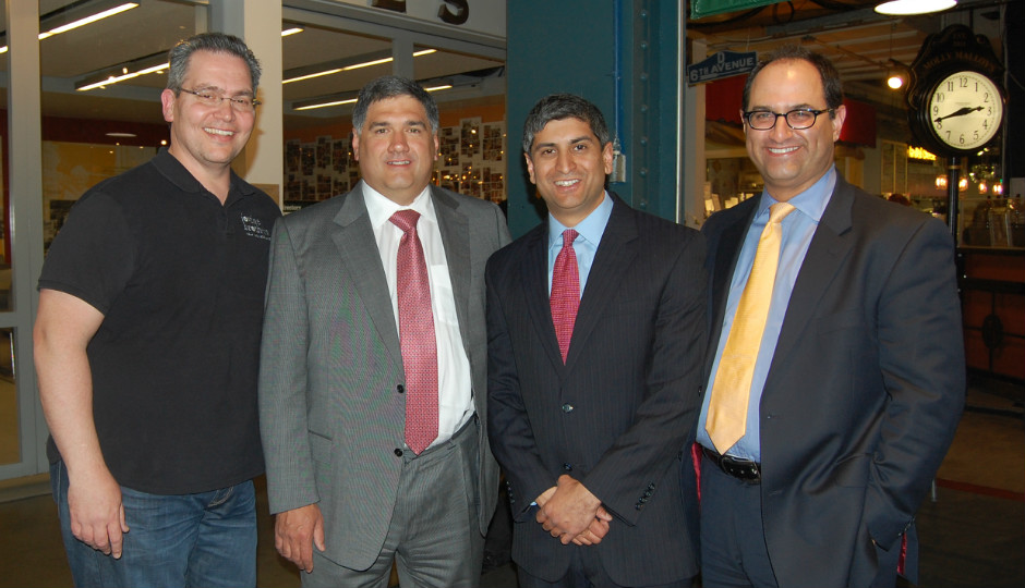 FromL to R: Vincent Lovine. owner of Lovine's Produce; Al Mezzaroba, Reading Terminal Market Board of Directors Chair; Anuj Gupta, Reading Terminal Market GM; and Brent Cossrow, Reading Terminal Market Board of Directors Vice Chair.