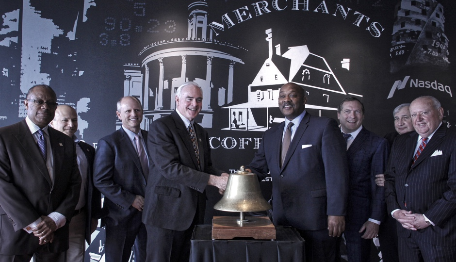 Officials ring the bell on the Nasdaq PHLX trading floor at the FMC tower. L to R: Harold Epps, Director of the Philadelphia Department of Commerce; Steve Levick, entrepreneur; Kevin Kennedy, Senior Vice President and Head of U.S. Options; Representative Patrick Meehan; Representative Dwight Evans; Tom Wittman, Executive Vice President and Global Head of Equities, Nasdaq; John Wallace, former Chairman of the Philadelphia Stock Exchange; John Egan, former Chairman of the Philadelphia Stock Exchange. Photo courtesy of Nasdaq.