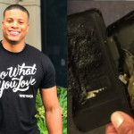 Left: Plaintiff Julian Bradley. Right: Damage caused by the exploding iPhone charger.