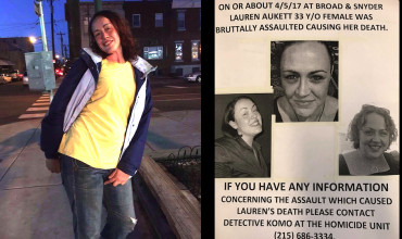 Left: The most recent photo of Lauren Aukett, taken three weeks ago. Right: One of the fliers that her family has been distributing in South Philly. (Images courtesy Carolynn Aukett-Belgiorno)
