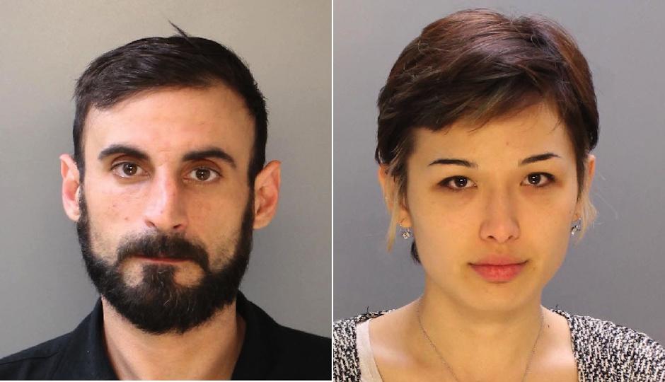 NA Poe aka Richard Tamaccio and Rachael Friedman in their Philadelphia Police Department mugshots.