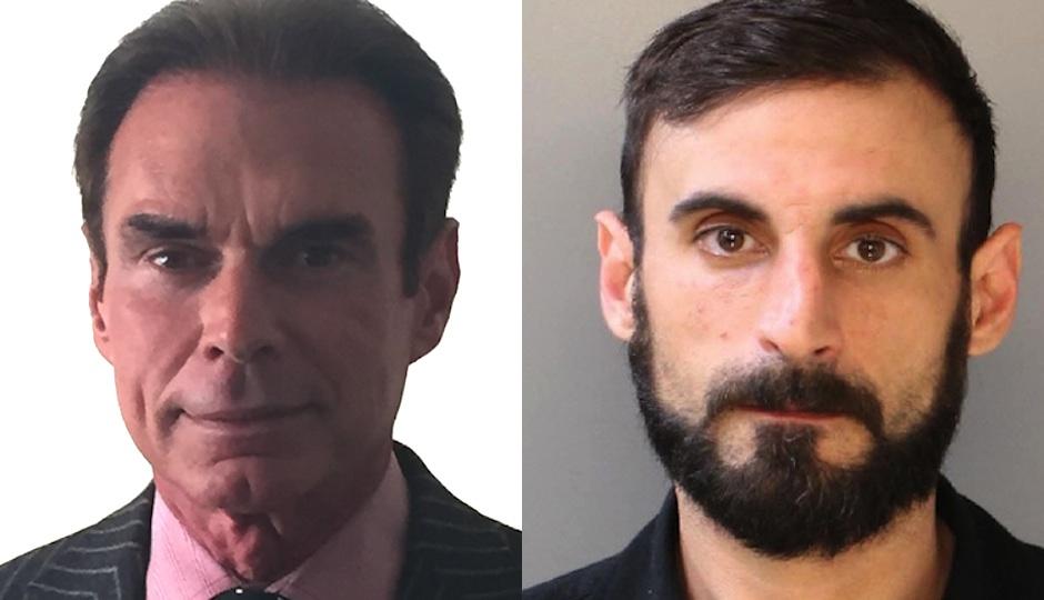 Left: Criminal defense attorney Chuck Peruto in a publicity photo. Right: NA Poe aka Richard Tamaccio in his Philadelphia Police Department mugshot.