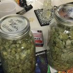 There were jars and jars of finer marijuana for sale at the NA Poe pot party, starting at $40 per eighth-ounce.