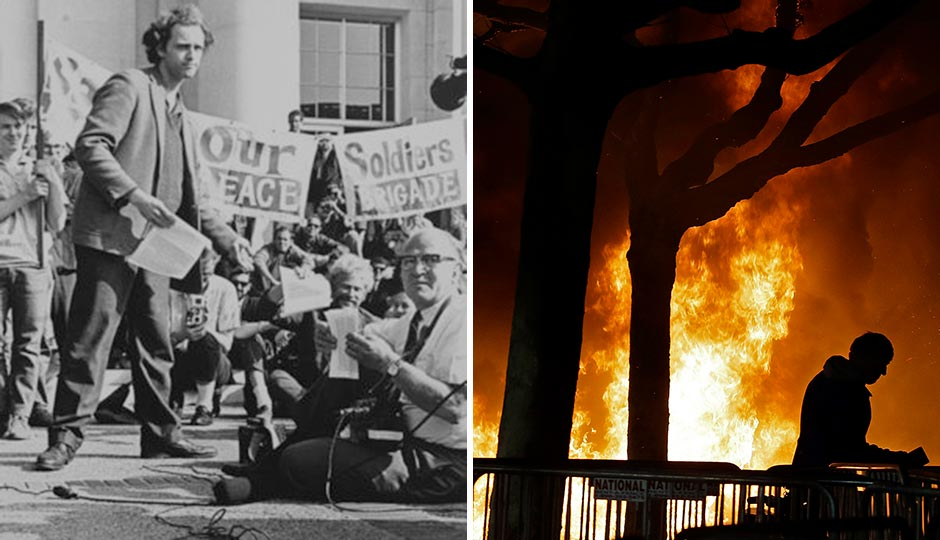 "Left: A Free Speech Movement rally at Berkeley in 1966. (Wikimedia Commons) | Right: The ""Battle of Berkeley,"" February 1, 2017. (Ben Margot/AP)"