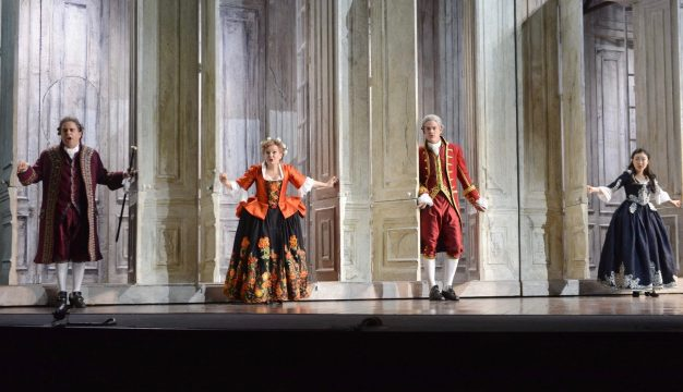 Patrick Carfizzi, Lucy Schaufer, Brandon Cedel, and Ying Fang in Le Nozze di Figaro at Opera Philadelphia. (Photo by Kelly & Massa)