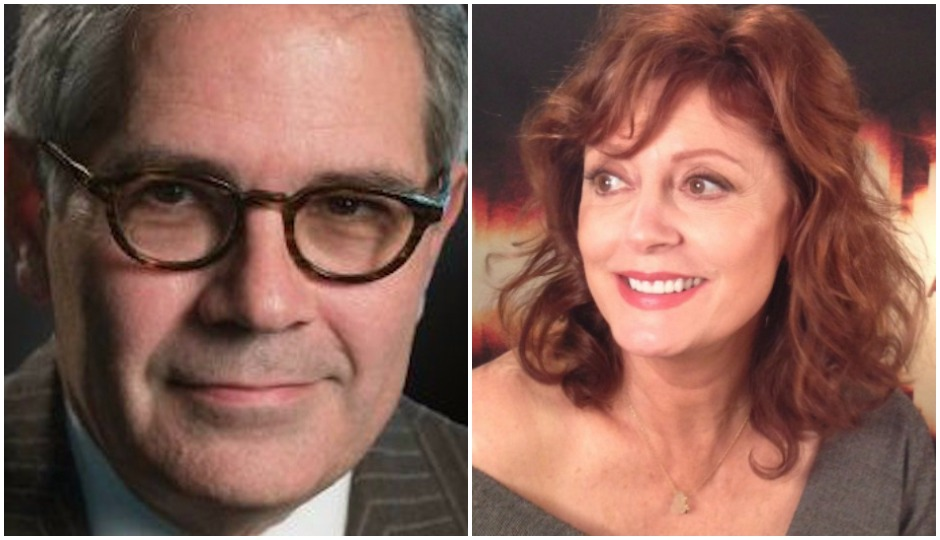 L: Courtesy of Larry Krasner's campaign | R: Susan Sarandon via Sillygoosefilms/Wikimedia Commons