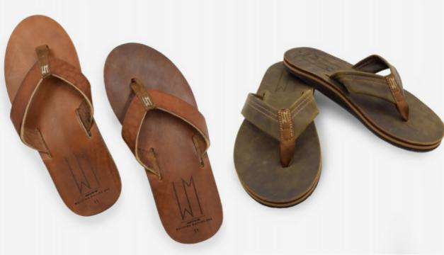 Left: Ace men's sandal. Right: Al men's sandal. Photos via waltzingmatildausa.com