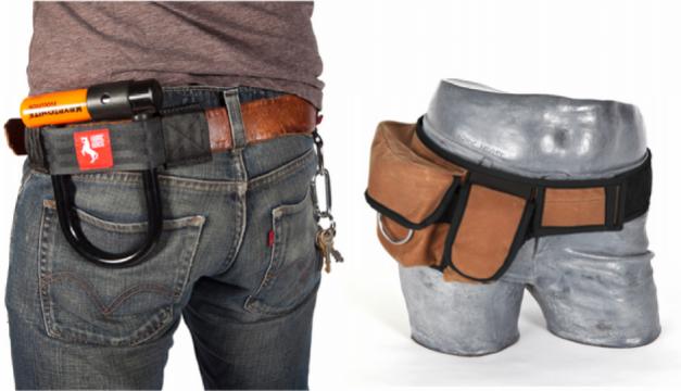 Left: U-lock holster. Right: Halfbelt in Cognac. Photos via fabrichorse.com