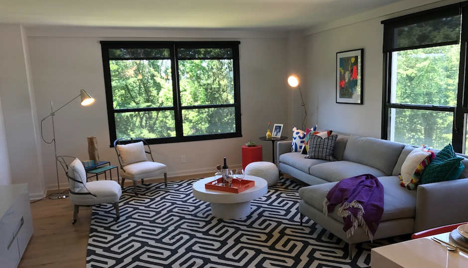 A model apartment living room at 251 DeKalb    Photos  Sandy Smith. A Midcentury Modern Makeover in King of Prussia   Philadelphia