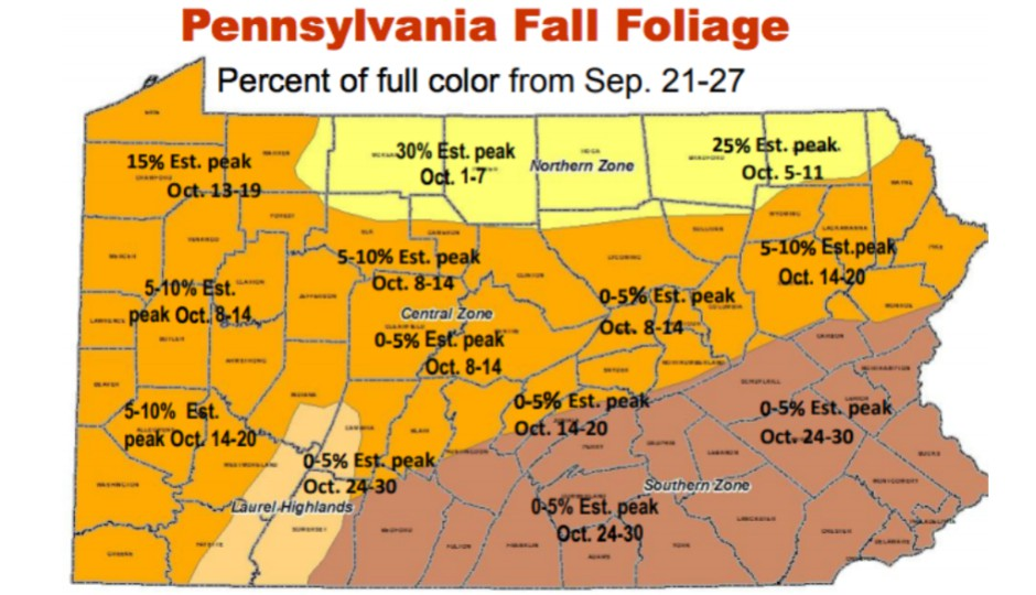 Here's a Map of When Pennsylvania's Leaves Will Reach Peak Color on map of baltimore county pa, events of york county pa, map of adams county pa, map of erie county pa, map of san diego county ca, map of york college pa, map of douglas county or, map of grafton, il, map of york county nc, map of new castle county de, map of york county ne, map of mckean county pa, map of franklin county pa, map of cumberland county pa, map of warren county pa, map of chester county pa, map of potter county pa, map of york city pa, cities in lebanon county pa, map of pennsylvania,