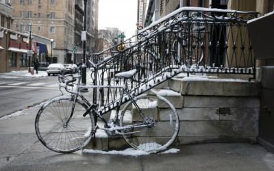 snow, bike