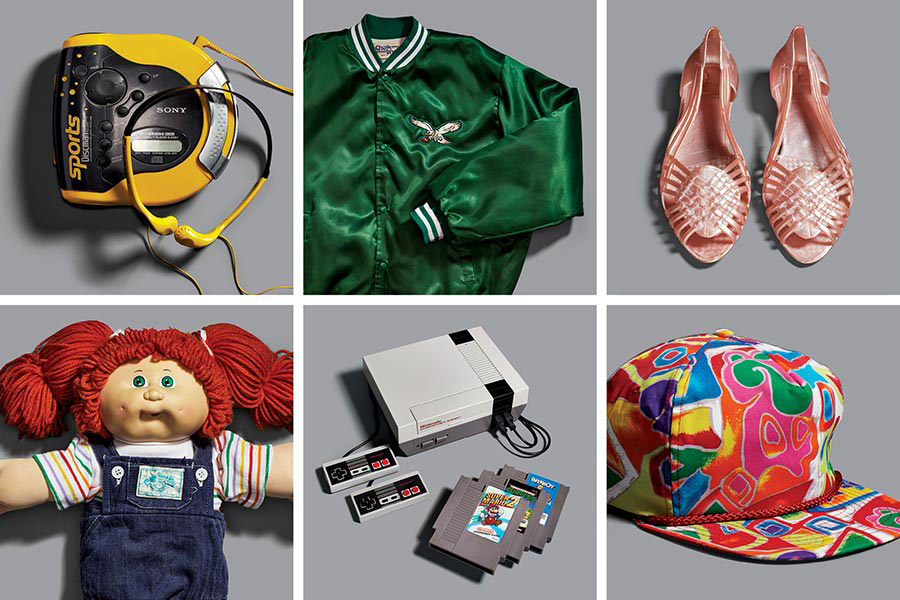 "2f7e3def59c Clockwise from top left  Sony DES51 Sport Discman  satin Eagles jacket   Jellies  Cabbage Patch doll  Nintendo Entertainment System  ""Fresh Prince""  cap."