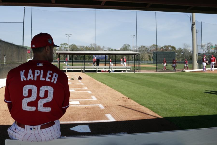 e83da1df8 Philadelphia Phillies manager Gabe Kapler watches from the bullpen at  baseball spring training, Thursday, Feb. 15, 2018, in Clearwater, Fla.