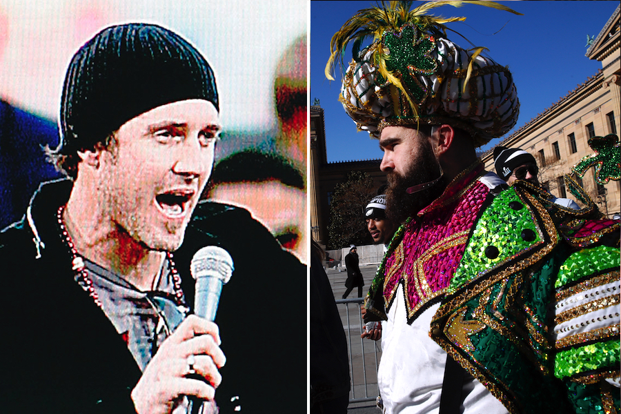 020d20c62c0361 ... Citizens Bank Park in 2008 when he dropped the F-bomb following the  World Series parade. (AP Photo/Tom Mihalek). Right: Jason Kelce at the 2018  Eagles ...