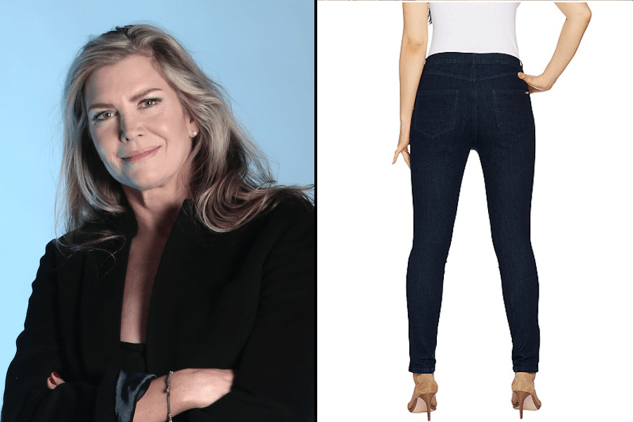 08c4e94fb025f3 Left: Skinny Jeans founder Catherine Hart. Right: A pair of jeans from the  QVC line that Hart says steals from her designs. (QVC promotional shot.)