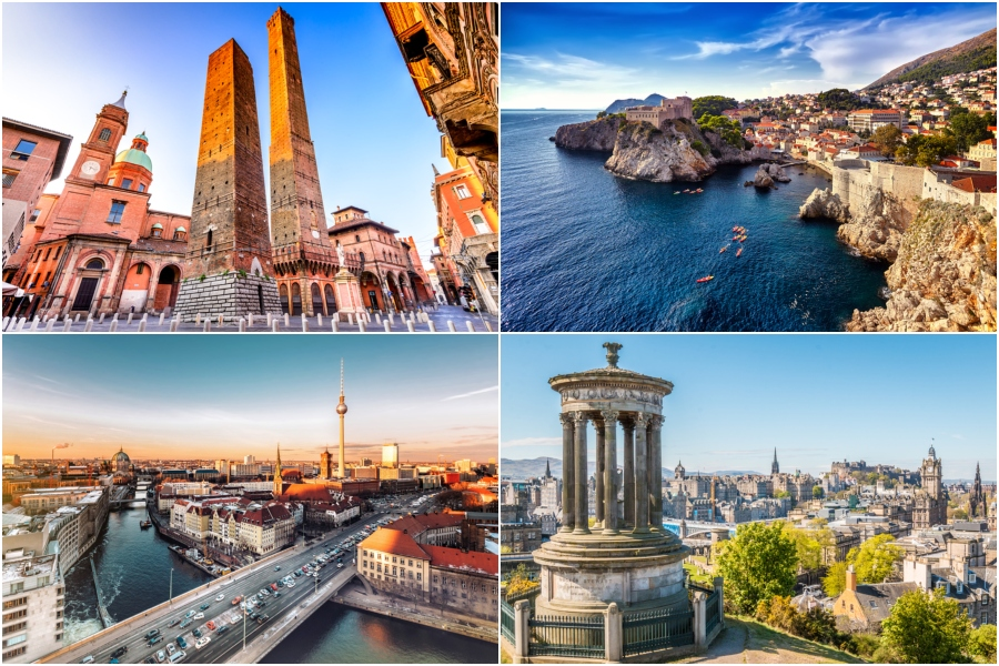 60cf8e304be0 American Airlines will launch new flights from Philadelphia to four new  European cities in 2019. Clockwise top L to R  Bologna