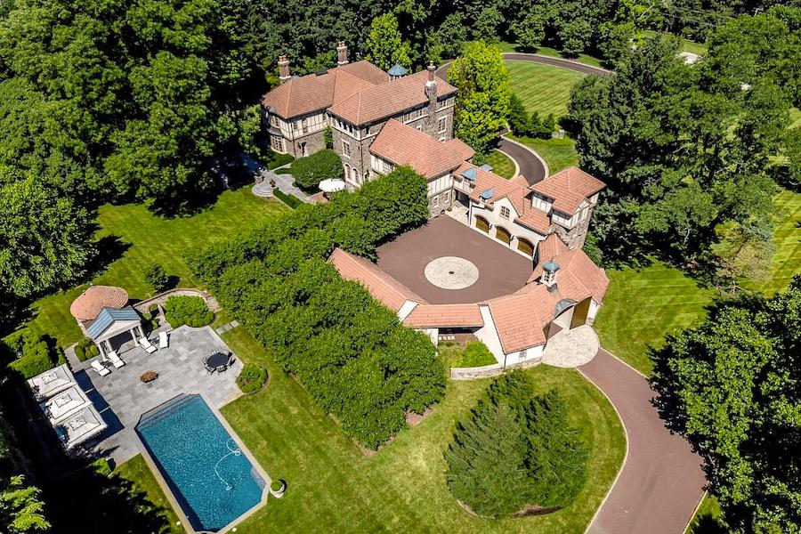 House For Sale Villanova Tudor Mansion Aerial View