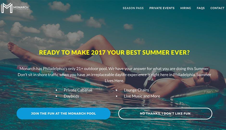 The Monarch Swim Club homepage.